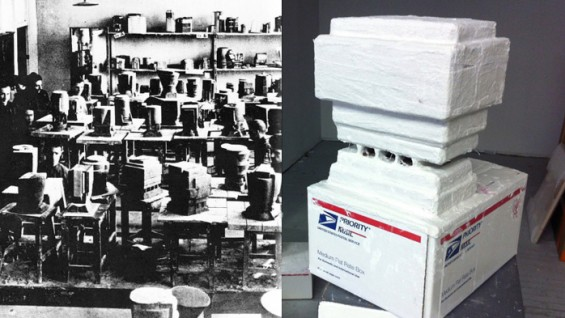 Archival image form the Vkhutemas School (left), and a work in progress by Pamela Lins (right)