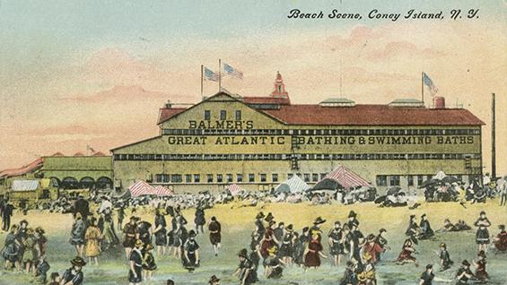 Beach Scene, Coney Island, N.Y. c1900. Courtesy of the Joseph Covino New York City Postcard Collection, The Irwin S. Chanin School of Architecture Archive.