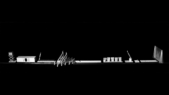 "Laurie Hawkinson, ""Cinetrain,"" Thesis 1982-83. Faculty John Hedjuk, Anthony Candido, Peter Eisenman, Donald Wall, and Regi Weile."
