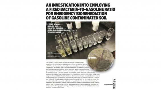 [STUDENT POSTER] AN INVESTIGATION INTO EMPLOYING A FIXED BACTERIA-TO-GASOLINE RATIO FOR EMERGENCY BIOREMEDIATION OF GASOLINE CONTAMINATED SOIL