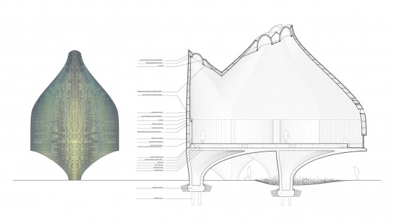 Young & Ayata - Vessel Collective Bauhaus Museum, detailed section and elevation