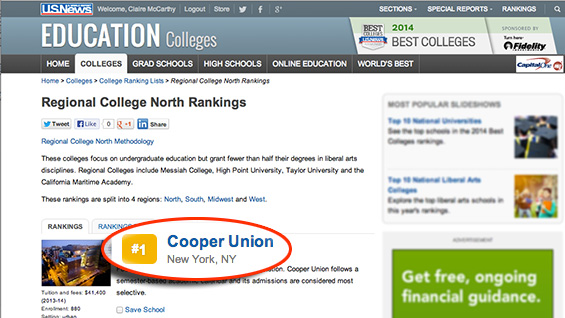 U.S. News Best Colleges screenshot