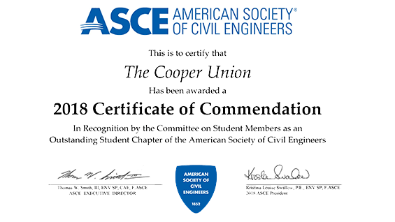 Ranked in the top 5 percentile, Cooper's ASCE student chapter received a 2018 Certificate of Commendation