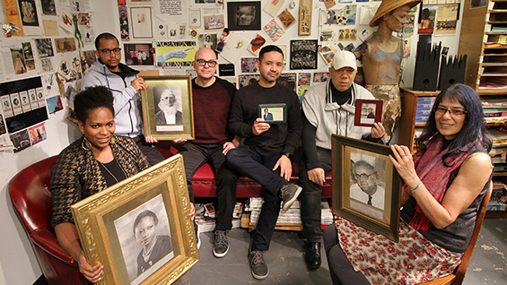 Saturday Program staff (l to r)—Aisha Tandiwe Bell, Jairo Sosa A'17, Vincent Toro, Alfred Cervantes, Charles Fambro, and Marina Gutierrez A'81—holding photographs of the program's heroes including Peter Cooper, Augusta Savage, and John Hejduk. Photo by Dean Gunnison.