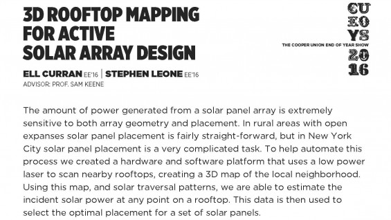 [STUDENT POSTER] 3D ROOFTOP MAPPING FOR ACTIVE SOLAR ARRAY DESIGN
