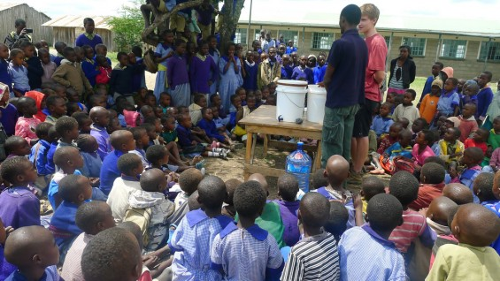 Water filtration demonstration with Brian Reed (PITCHAfrica) at the Endana Secondary School