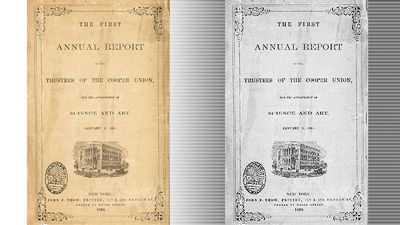 Cover of 'The First Annual Report of the Trustees of The Cooper Union' (1860)