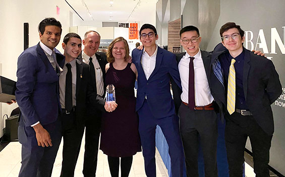 From left to right: Sanjeev Menon CE'20, Mahmoud Khair-Eldin CE'21, Dean Shoop, Jenna Scott CE'21, Evan Straus CE'21, Brighton Huynh CE'21 and Joshua Kitagorsky CE'21