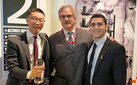 From left to right: Brighton Huynh CE'21, Adjunct Professor Joseph Viola, and Mahmoud Khair-Eldin CE'21
