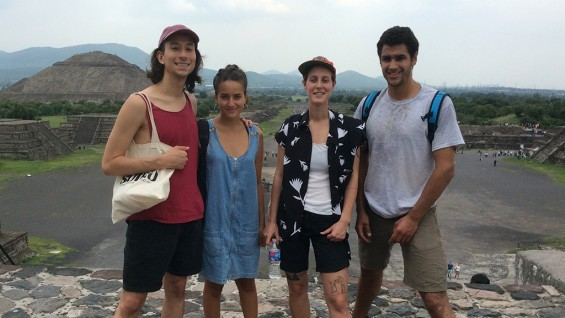 Emilio Martinez, Vanessa Leiva, Saar Shemesh and Eamon Murphy at Teotihuacan