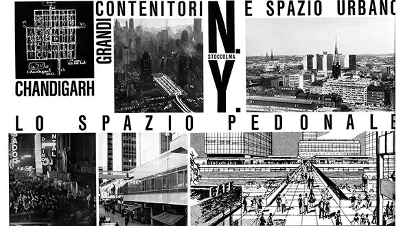 "Manfredo Tafuri, Giorgio Piccinato, and Vieri Quilici, page spread of ""City Territory: Toward a New Dimension"" as published in Casabella 270, December 1962, Italy. Courtesy of Casabella."