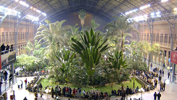 Atocha Railway Station in Madrid, Spain