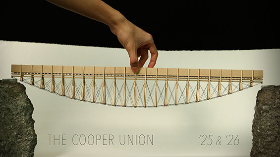 Bridge and banner design by Dov and Frederick, third-year School of Architecture students