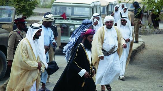Sheikh Zayed, Sultan Qaboos, and Sayyid Tariq (left to right), As Sib - Charles Butt, 1970
