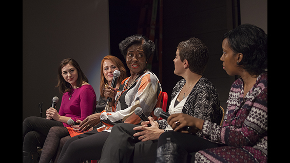 Avis Yates Rivers (center) moderates a discussion with, from left to right Jenn Halweil, Tamara Robertson, Dr. Emily Levesque and Charlie Oliver.