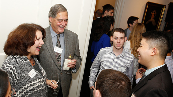 Camille and Alan Kramer EE'70 with engineering students Jonathan Weinrib and Kelvin Lin<br><br>