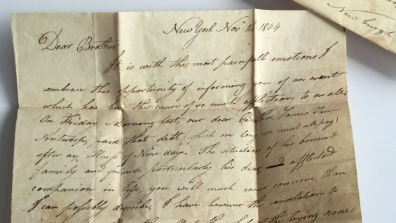 Detail of a letter to Peter Cooper's father dated November 14, 1804