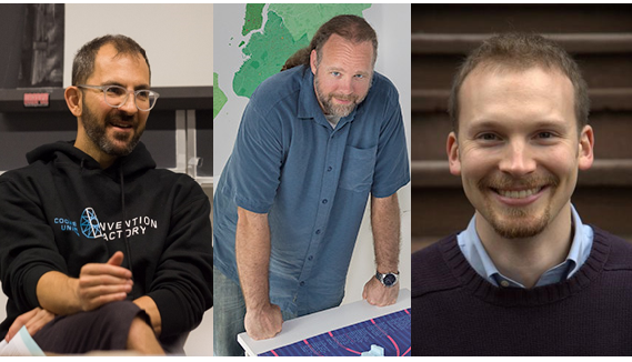 From left to right: Professors Eric Lima, Sam Keene, and Ben Davis
