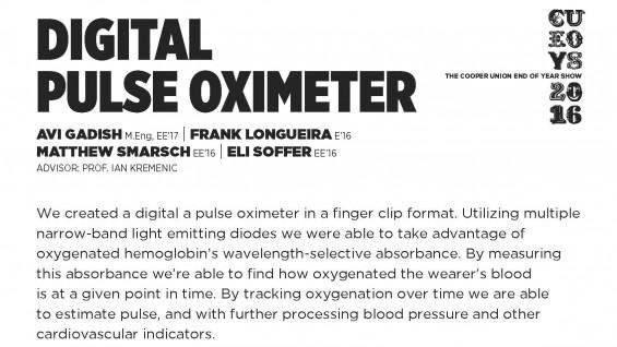 [STUDENT POSTER] DIGITAL PULSE OXIMETER