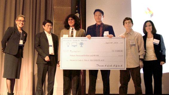 Cristine Dolan, Joi Ito, Aman Grewal, Kevin Shi, David Sheckhtman and Teresa Dahlberg at the 'Dream it. Code it. Win it.' finals