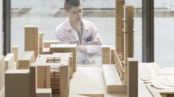 Models from the Design IV: Architecture in the City studio on display in the west colonnade. Photo by João Enxuto