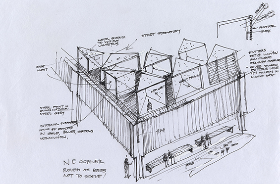 Glenn Murcutt AO, Sydney architect born England 1936 Australian Islamic Centre, architecture sketch 2006–16 pen and ink Collection of the architect © Copyright held by G. Murcutt on all mosque drawings and designs EXHI040157