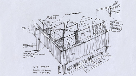 Glenn Murcutt AO, Sydney architect born England 1936. Australian Islamic Centre, architecture sketch 2006–16 pen and ink. Collection of the architect © Copyright G. Murcutt on all mosque drawings and designs EXHI040157