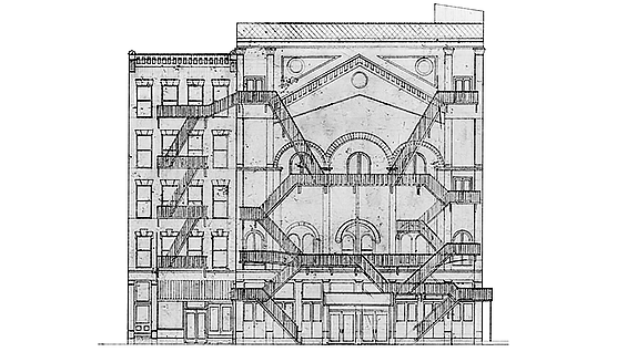 Dustin Atlas' drawing of the Miner's Bowery Theater fire escapes