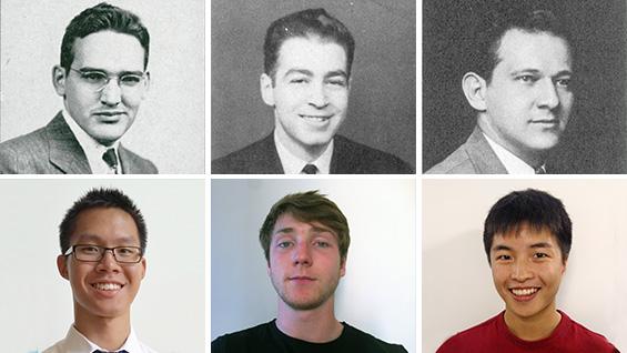 Clockwise from top left: Tyler Hicks ME'48, Maxwell Lincer CE'42, John Alpert ME'41, Peter Wang, Andrew Keane & Jeffrey Tam
