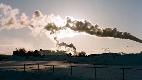 Photo by David Black. Monsanto phosphate plant and slag pour site near Soda Springs, Idaho.