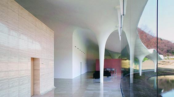Example of thin shell concrete construction: Toyo Ito, Meiso No Mori Municipal Funeral Hall, Kakamigahara, Japan, 2006. Photo by Dennis Gilstad.