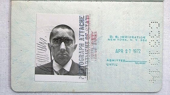 George Maciunas's passport, 1972‒78 (detail)