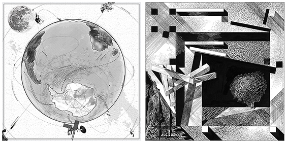 """Left: Geostories, """"At the Bottom of the World,"""" Of Oil and Ice, 2017. Right: Franco Purini, Teatrino N. 5 - Teatrini, Small Theater N 5, From the series """"Theatres,"""" 1997."""