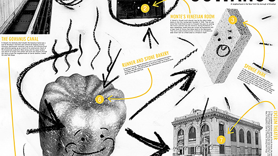 Detail of a poster by Ian Langehough that focuses on the landmarks of Gowanus, Brooklyn