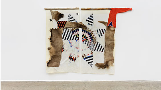 I Heart Rez Boys, 2019, textiles, elk hide, acrylic, graphite, pastels, wood, and bone, 82 x 108 inches