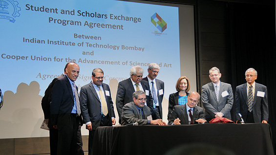 Prof. Devang Khakhar (seated, left) with Pres. Bharucha and others at the October 26 signing (photo: India Abroad/P. Rajendran)