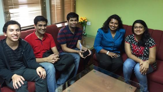 Former Assoc. Dean Raja visits (L-R) Jean-Dominique Bonnet (CE'17), Abhishek Chandra, Prakhar Jaju, Sneha Goenka at IITB
