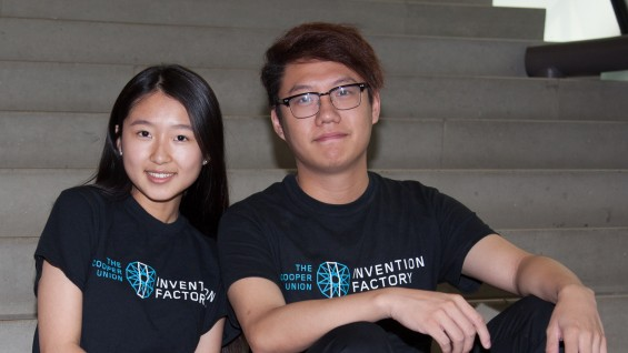"Yueyue ""Keira"" Li and MingYang ""Raymond"" Lee (both ME'18) won second prize for the ""Push-n-Twist Screwdriver"""
