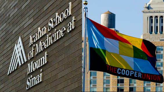 ISMMS  building sign / Cooper Union flag