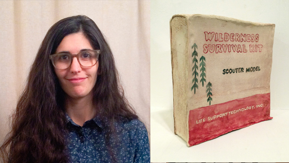 Leah Wolff. 'Wilderness Survival Kit,' Photo transfer onto clay with paint