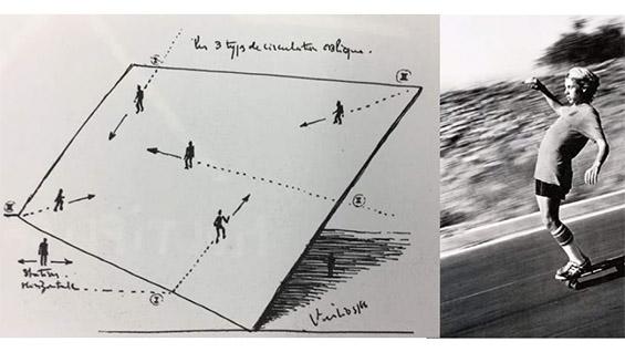 "From Jose Luis Mateluna's proposal, Skating Oblique: Paul Virilio's diagram ""Les 3 types de circulation oblique"" and skateboard legend Jay Adams 1970. Circulation Habitable, Architecture Principe 1966 et 1996 (Paul Virilio & Claude Parent, 1996). Jay Adams going Downhill, photography by Craig Stecyk. 1970."