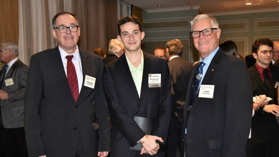 Matthew Seinuk (CE'17, ME'19) with Frank Arland on left (partner at Mueser Rutledge Consulting Engineering (MRCE)) and Al Brand on right (Cooper Union alumnus and consultant at MRCE)