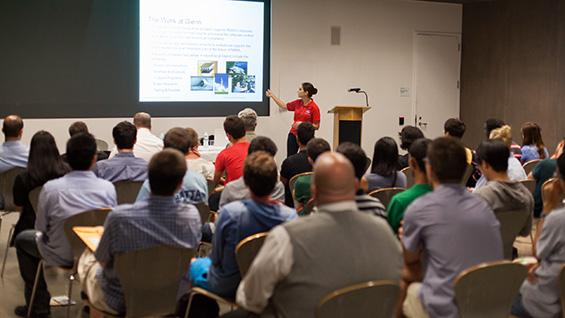 NASA's Lauren M. Demirjian speaks to students