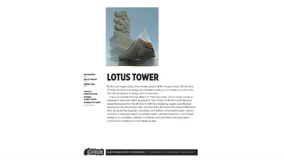 [STUDENT POSTER] LOTUS TOWER