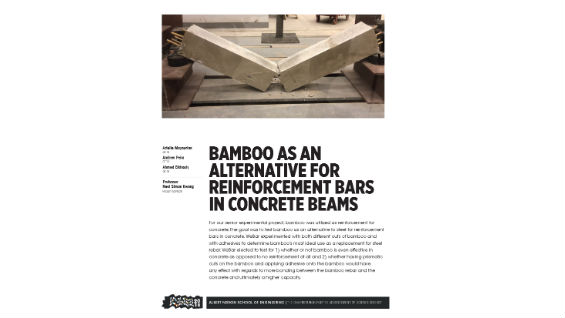 [STUDENT POSTER] BAMBOO AS AN ALTERNATIVE FOR REINFORCEMENT BARS IN CONCRETE BEAMS