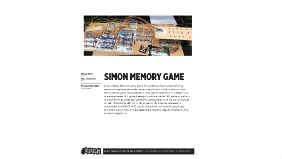 [STUDENT POSTER] SIMON MEMORY GAME