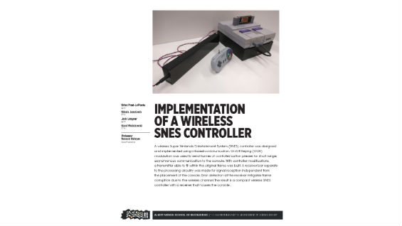 [STUDENT POSTER] IMPLEMENTATION OF A WIRELESS SNES CONTROLLER