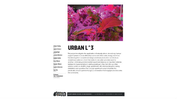 [STUDENT POSTER] URBAN L^3