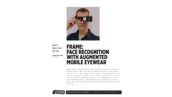[STUDENT POSTER] F.R.A.M.E.: FACE RECOGNITION WITH AUGMENTED MOBILE EYEWEAR