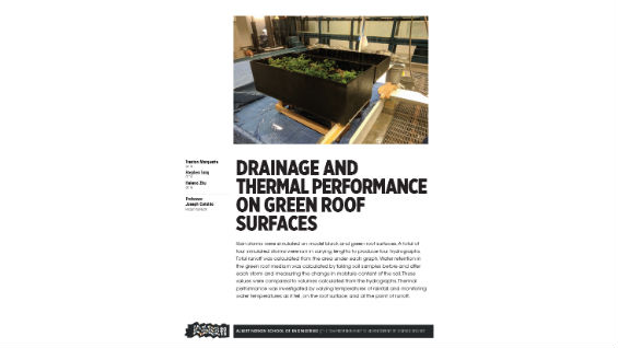 [STUDENT POSTER] DRAINAGE AND THERMAL PERFORMANCE ON GREEN ROOF SURFACES